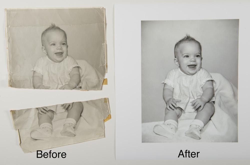 Restoration of damaged black and white baby photo